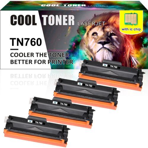 4Pack TN760 TN-760 Toner Cartridge For Brother HL-L2370DW HL-L2350DW MFC-L2710DW