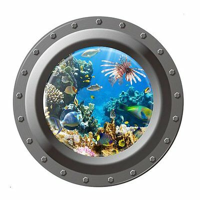 Ocean View Wall Sticker 3D Porthole Window Kids Room Home Decor Art LW