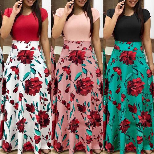 Fashion Women's Floral Long Maxi Dress Split Cocktail Party Beach Sundress