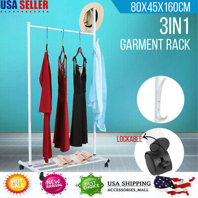 Garment Rack Coat Hanging Rail Clothes Stand with Wheels Coat & Shoes & Hat Hook ()