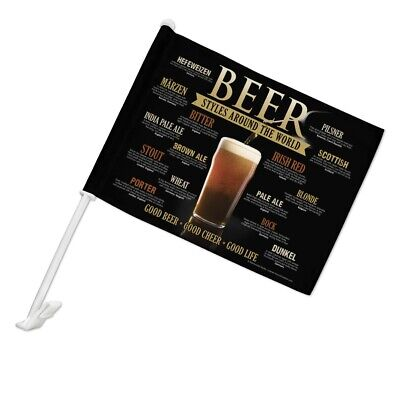 Beer Styles Around the World Good Cheer Car Flag with -