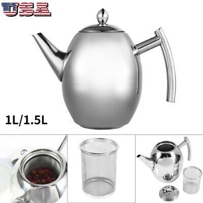 Stainless Steel Teapot Coffee Pot Water Kettle with Filter L
