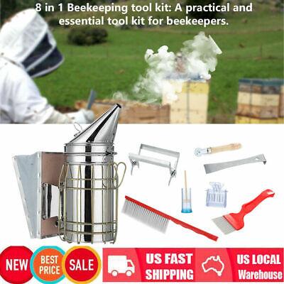 8pcs Beekeeping Equipment Bee Brush Catcher Cage Bee Smoker Hive Holder Kit Us