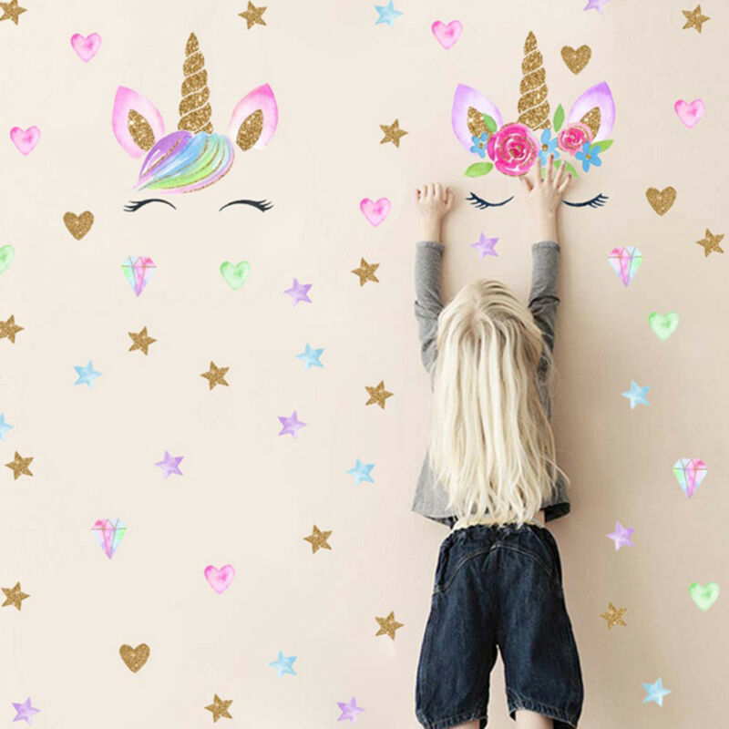 Home Decoration - UK Creative Unicorn Stars Wall Stickers Girls Bedroom Flowers Decals Decor Cute