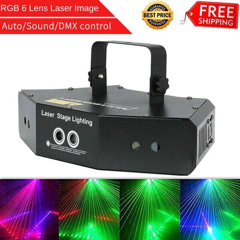 6 Lens Scan Laser Light Line Beam RGB for DMX DJ Dance Bar Coffee Xmas Home