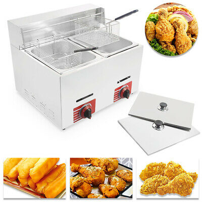 Commercial Countertop Gas Fryer 2 Baskets Gf-72 Propanelpg With Metal Tube