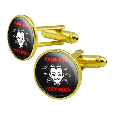 Fang Thank You Very Much Vampire Funny Humor Round Cufflink Set Gold Color