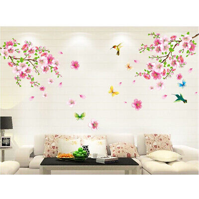 Home Decoration - DIY Home Decor Peach Blossom Flower Butterfly Bird Floral Art Decal Wall Sticker