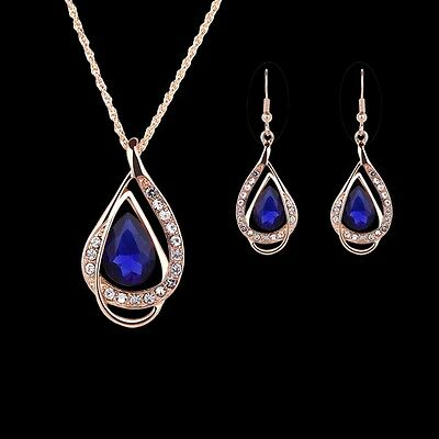 Damen Sapphire Schmuckset Halskette Ohrringe Blau Kristall Strass Hochzeit Mode