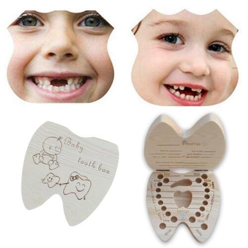 Baby Tooth Box Wooden Milk Teeth Boys Girls Organizer Storage Save Souvenir Case