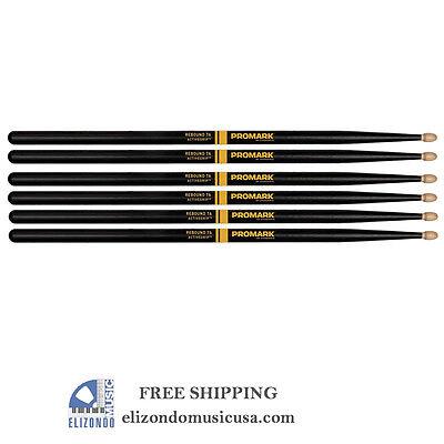 PROMARK 7A Drum Sticks Black Select Balance Rebound Active Grip 3 PAIRs