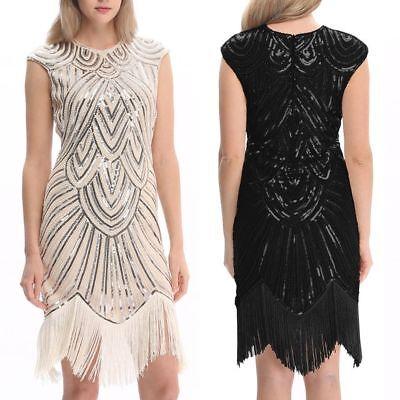 30er Jahre Kostüm (Damen 1920 20er 30er Jahre Charleston Kostüm Kleid Flapper Fransen Party kleid)
