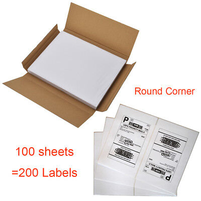 200 Half Sheet Shipping Labels Self Adhesive 8.5 X 5.5 Round Corner Usps