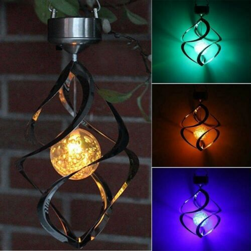 Solar Powered Spiral Wind Spinner Color Changing LED Light Wind Chimes Lamp Yard Décor