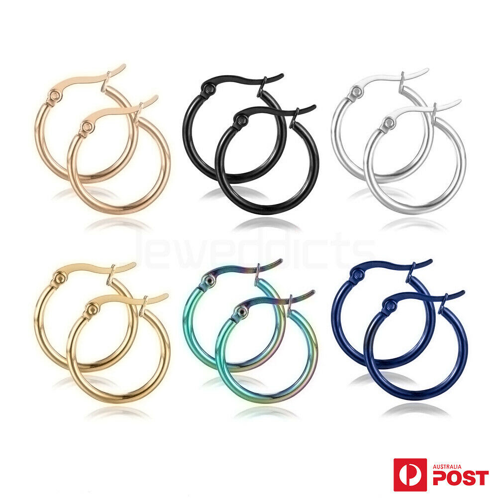 Jewellery - 1 Pair Hoop Earrings Surgical Steel Smooth Round Ear Studs Fashion Jewellery