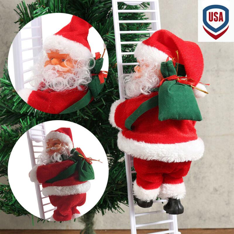 1 Pcs Electric Climbing Ladder Santa Claus Christmas Figurine Ornament Gifts