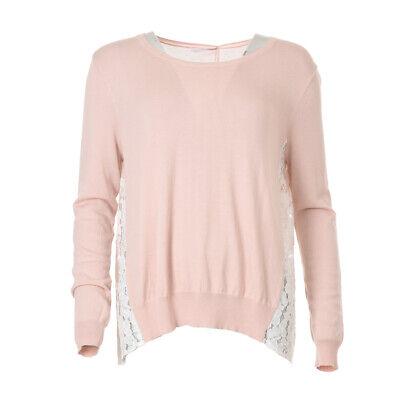 iBLUES MAX MARA Sweater Pink Lace Panel RRP £159 BG