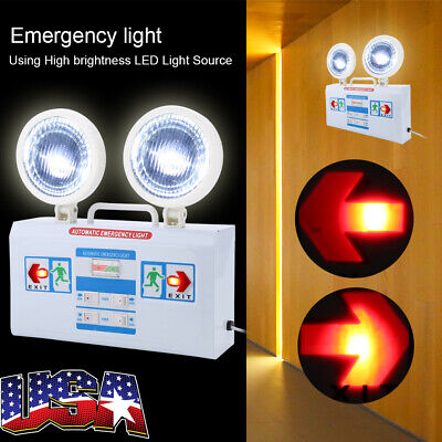 Indoor Emergency Exit Sign Double Spot Safety Light Fixtures Led Fire Lights Us