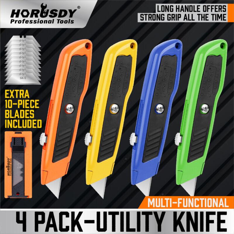 4Pc Utility Knife Set Lock Back Aluminum Retractable Box Cutter Extra 10 Blades