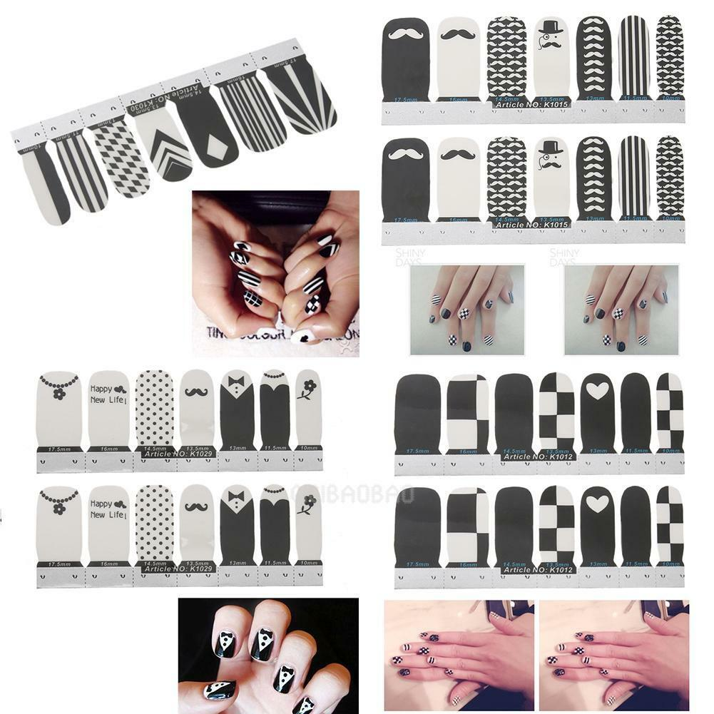 14pc NAIL WRAPS STICKERS - Full Self Adhesive Polish Foils Decoration Art Decals