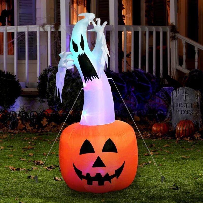 Blow up Outdoor Yard Decoration Halloween Inflatable Pumpkin Ghost & Light 6FT