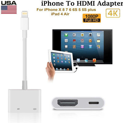 US For Apple Iphone 6 7 8 + X Ipad Lightning to HDMI Digital AV TV Adapter Cable