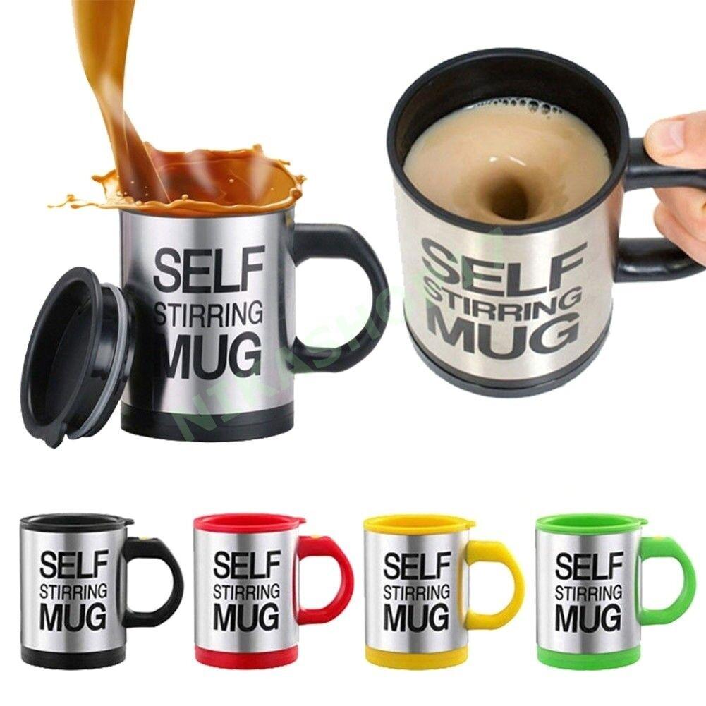 TAZZA AUTOMESCOLANTE TERMICA SELF STIRRING MUG MISCELA IDEA REGALO SCHIUMA CAFFÈ