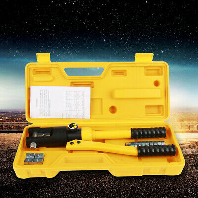 Pro 10 Ton Hydraulic Wire Terminal Crimper Battery Cable Lug Crimping Tool Dies