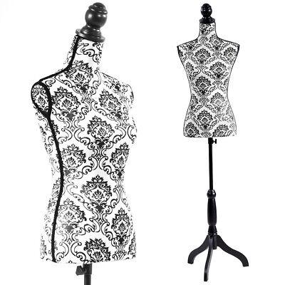 Female Mannequin Torso Dress Form Black Tripod Stand Display Baroco Style