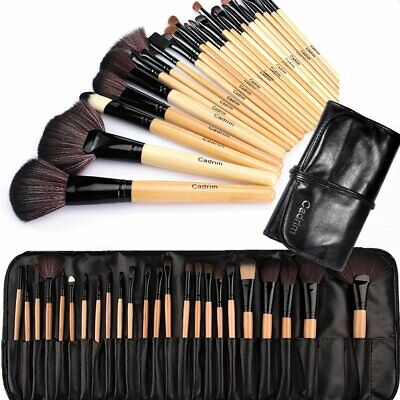 24 PENNELLI MAKE UP TRUCCO PROFESSIONALI MANICO IN LEGNO COSMETICA +CUSTODIA