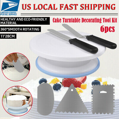 "11"" Rotating Revolving Cake Turn table Plate Display Stand Decorating Supplies"