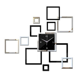 Modern Wall Clock Removable Mirror Acrylic Square Sticker Art 3D Home Decoration