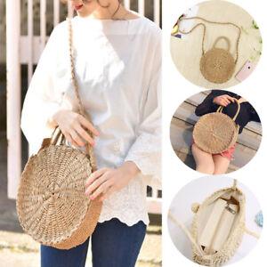 Straw Retro Bag Rattan Woven Round Handbag Vintage Knitted Messenger Purse Hot