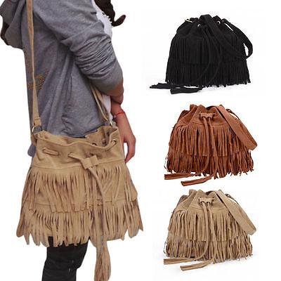Große Damen Quaste Schultertasche Umhängetasche Handtasche Frauen Crossbody Bag