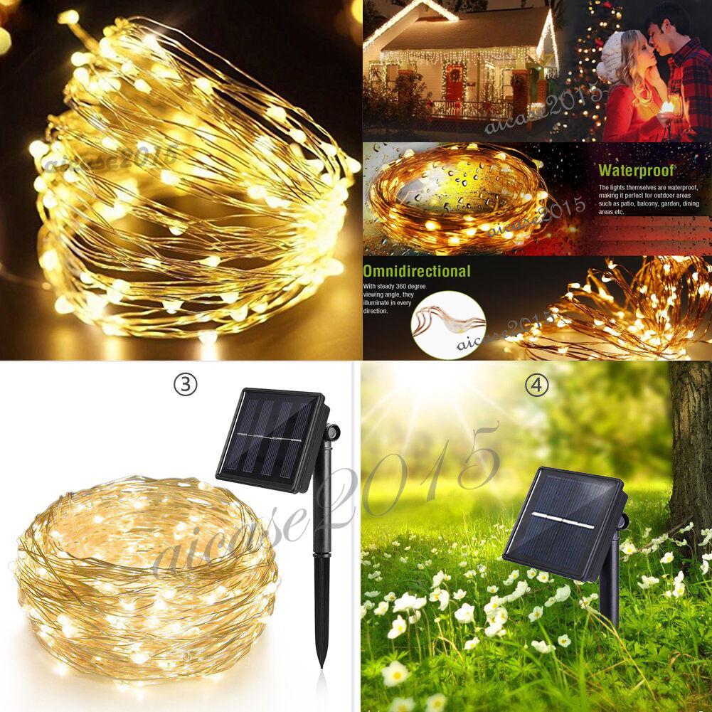 100 200led 8modis solar lichterkette lichtschlauch au en innen beleuchtung deko ebay. Black Bedroom Furniture Sets. Home Design Ideas