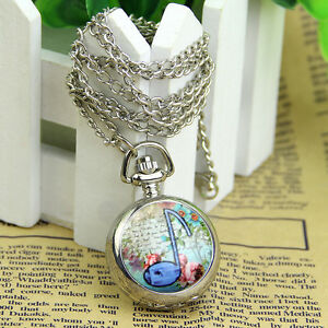 Fashion Musical Note Pocket Watch Quartz Necklace Pendant Fob Watch New