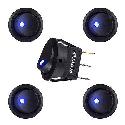 Blue Dot Led Switch - 5 x Round Rocker Switch 12V with Blue LED light dot car auto rv boat toggle SPST