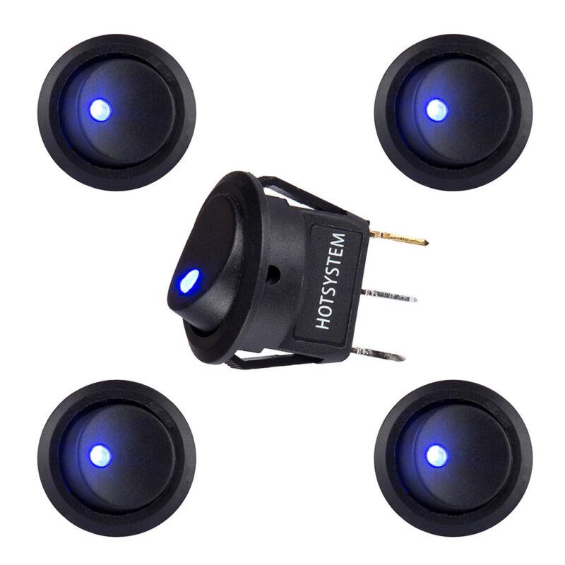 5x HOTSYSTEM LED Dot Light 12V Car Boat Round Rocker ON/OFF TOGGLE SPST Switch