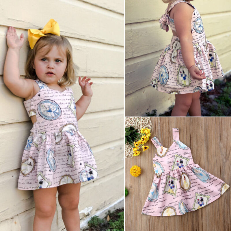 US Toddler Kid Baby Girl Clothes Princess Party Snow White Backless Tutu Dress