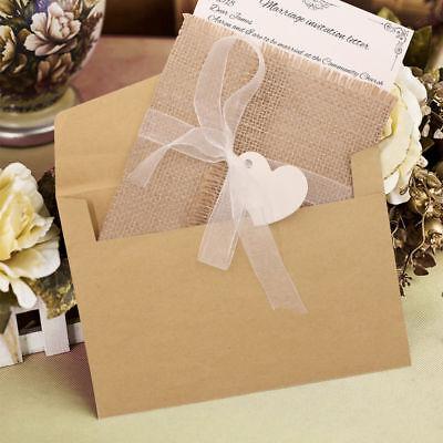 50x Vintage Burlap Rustic Chic Country Wedding Invitations Cards Kit Set Cheap  (Wedding Invitations Kits Cheap)