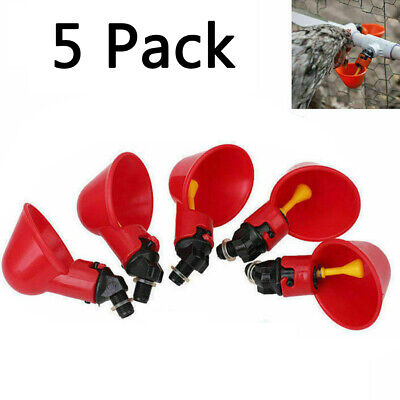 5 Pack Poultry Water Drinking Cups Chicken Hen Plastic Automatic Drinker Quail