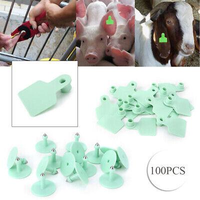Livestock Ear Tag Animal Tag Label Fit Goat Sheep Pig 100 Sets Green Plastic Set