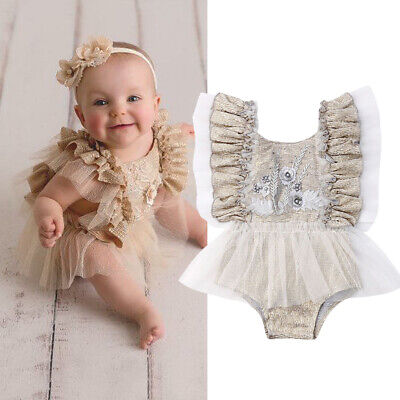 US Newborn Baby Girl Infant Lace Skirt Romper Jumpsuit Bodysuit Outfits Clothes - Baby Skirts