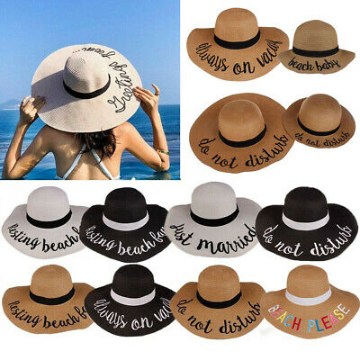 Women Baby Kids Girl Floppy Sun Beach Straw Hats Wide Brim Packable Summer Cap U