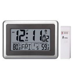 Digital Atomic Wall Clock Indoor Outdoor Temperature Reception Signal Snooze US