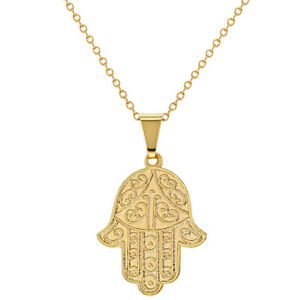 Gold hamsa necklace ebay 18k gold plated hamsa hand pendant necklace judaica protection 19 mozeypictures Gallery
