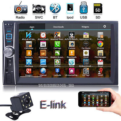 "7"" 2 DIN IN Dash Car Stereo Video Touch Screen MP3 MP5 Player Bluetooth + Camera"