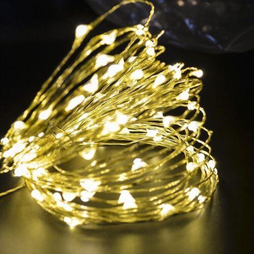 LED Lichterkette Draht Strom weiß biegsam Leuchtdraht Micro innen /& außen