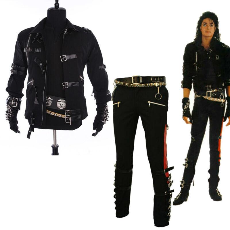 Michael Jackson Jacket Black Jacket BAD Buckle Black Stretch Trousers Pants