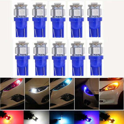 - 10x 5 LED/smd Per Bulb 12V DC Car Light Replacement 194 T10 T5 Wedge Base Blue